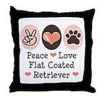 Peace Love Flatcoat Throw Pillow
