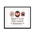 Peace Love Flatcoat Framed Panel Print