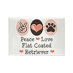 Peace Love Flatcoat Rectangle Magnet (10 pack)