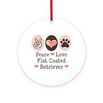Peace Love Flatcoat Ornament (Round)