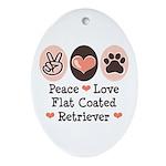 Peace Love Flatcoat Oval Ornament