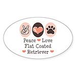 Peace Love Flatcoat Oval Sticker