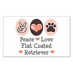 Peace Love Flatcoat Rectangle Sticker
