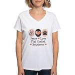 Peace Love Flatcoat Women's V-Neck T-Shirt