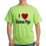 I Love Guinea Pigs Green T-Shirt