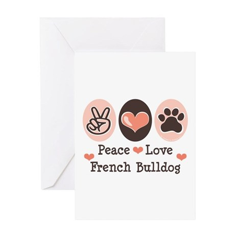 Peace Love French Bulldog Greeting Card