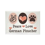 Peace Love German Pinscher Rectangle Magnet (10 pa