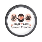 Peace Love German Pinscher Wall Clock