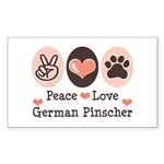 Peace Love German Pinscher Rectangle Sticker