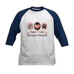 Peace Love German Pinscher Kids Baseball Jersey