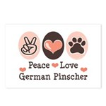 Peace Love German Pinscher Postcards (Package of 8