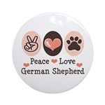 Peace Love German Shepherd Ornament (Round)