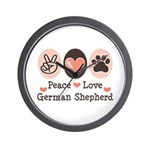 Peace Love German Shepherd Wall Clock