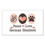 Peace Love German Shepherd Rectangle Sticker