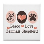 Peace Love German Shepherd Tile Coaster