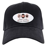 Peace Love German Shepherd Black Cap