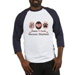 Peace Love German Shepherd Baseball Jersey