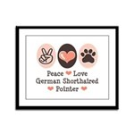 Peace Love G Shorthaired Pointer Framed Panel Prin