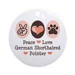 Peace Love G Shorthaired Pointer Ornament (Round)