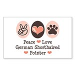 Peace Love G Shorthaired Pointer Sticker (Rectangu