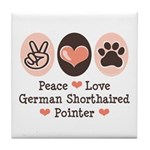 Peace Love G Shorthaired Pointer Tile Coaster