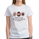 Peace Love G Shorthaired Pointer Women's T-Shirt