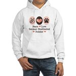 Peace Love G Shorthaired Pointer Hooded Sweatshirt