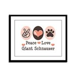 Peace Love Giant Schnauzer Framed Panel Print