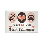 Peace Love Giant Schnauzer Rectangle Magnet (100 p