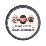 Peace Love Giant Schnauzer Wall Clock