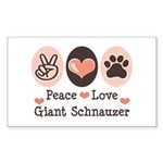 Peace Love Giant Schnauzer Rectangle Sticker