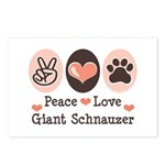 Peace Love Giant Schnauzer Postcards (Package of 8