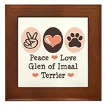Peace Love Imaal Terrier Framed Tile