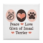 Peace Love Imaal Terrier Tile Coaster
