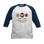 Peace Love Imaal Terrier Kids Baseball Jersey