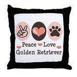 Peace Love Golden Retriever Throw Pillow