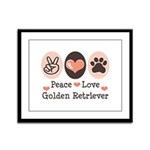 Peace Love Golden Retriever Framed Panel Print