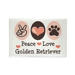 Peace Love Golden Retriever Rectangle Magnet