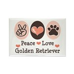 Peace Love Golden Retriever Rectangle Magnet (10 p
