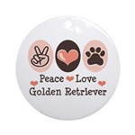 Peace Love Golden Retriever Ornament (Round)