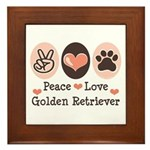 Peace Love Golden Retriever Framed Tile