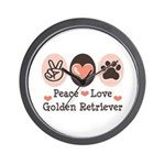 Peace Love Golden Retriever Wall Clock