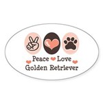 Peace Love Golden Retriever Oval Sticker