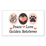Peace Love Golden Retriever Rectangle Sticker