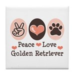 Peace Love Golden Retriever Tile Coaster