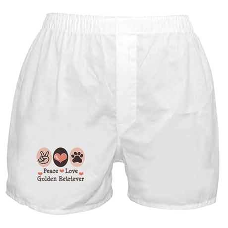 Peace Love Golden Retriever Boxer Shorts