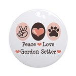 Peace Love Gordon Setter Ornament (Round)