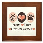 Peace Love Gordon Setter Framed Tile