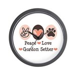 Peace Love Gordon Setter Wall Clock
