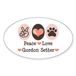 Peace Love Gordon Setter Oval Sticker